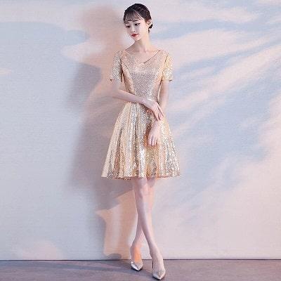 Đầm xoè ánh kim dáng tiểu thư
