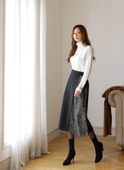 Chân váy thiết kế phối màu sang trọng