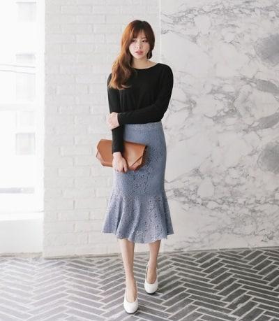 Chân váy dài đuôi cá chất ren ôm nhẹ body