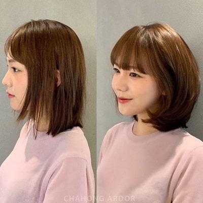 Mái tóc thẳng đờ thiếu sức sống, chỉa lung tung được thay bằng kiểu tóc tỉa layer và uốn phồng, không xinh và sang hơn vài chân kính mới là lạ.