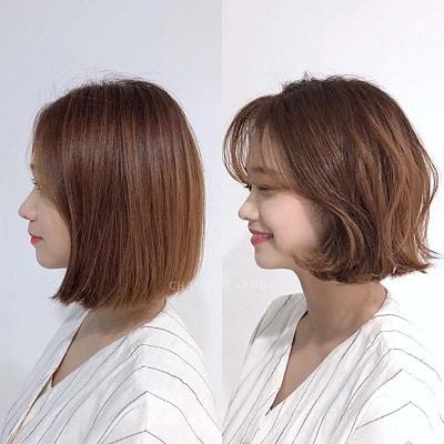 Kiểu tóc bob ban đầu của cô nàng này vốn dĩ đã rất đẹp, tóc vẫn giữ phom nhưng để trẻ trung và nhẹ nhàng hơn, cô nàng đã chọn cách tỉa nhẹ và làm xoăn sóng lơi, và kết quả nhận được cực yêu.
