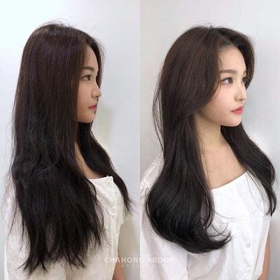 Nếu không muốn hi sinh mái tóc dài, bạn chỉ cần tỉa nhẹ nhàng và uốn xoăn nhẹ cho phần mái và đuôi tóc như cô nàng này là đã đủ để làm chúng bạn trầm trồ rồi.