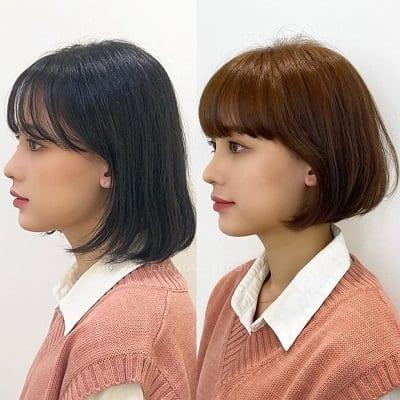 Cắt bớt vài centimet tóc, nhuộm màu sáng hơn và uốn phồng, cô bạn dễ thương của chúng ta giờ xinh như búp bê vậy.