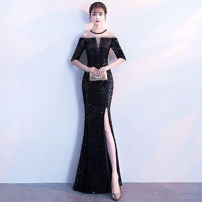 Đầm dạ hội màu đen xẻ cao