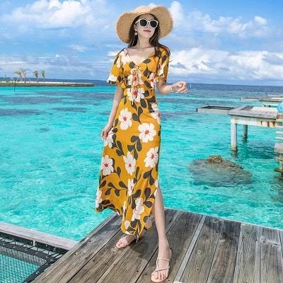 Đầm đi biển: Đầm maxi hoa xẻ lửng