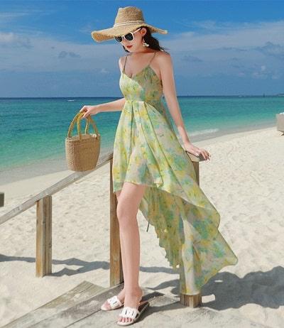 Đầm đi biển: Đầm voan hoa đuôi dài