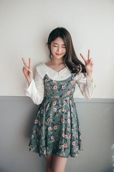 Đầm hoa sơ mi tay dài