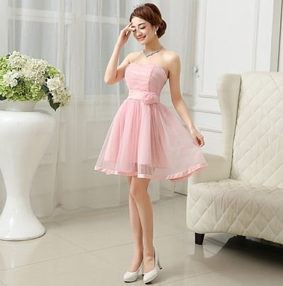 Đầm xoè tiểu thư màu hồng