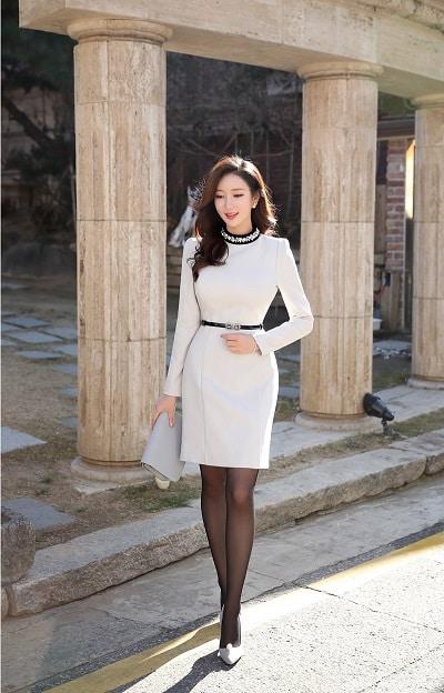 Đầm suông trắng công sở dự tiệc