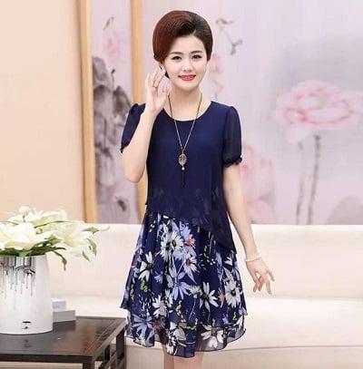 Đầm đẹp tuổi 45: Đầm suông trung niên tay ngắn
