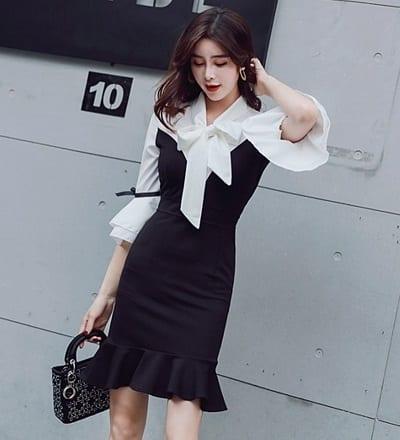Đầm công sở đuôi cá họa tiết hai màu đen + trắng