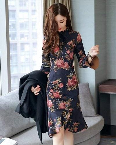 Thiết kế đầm hoa dáng đuôi cá Hàn Quốc