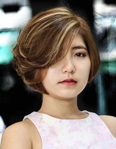 Tóc ngắn Hàn Quốc cho khuôn mặt tròn
