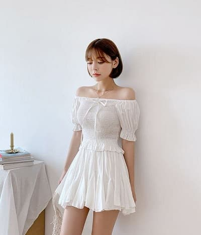 Váy trễ vai nhún thun xinh xắn