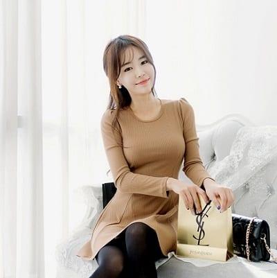 Đầm len tay dài cổ tròn