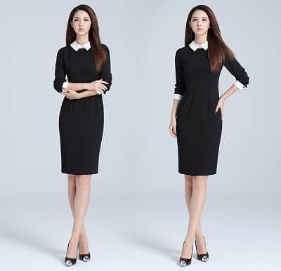 Đầm dáng dài phối màu trắng đen