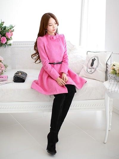 Đầm xoè len màu hồng mặc thu đông