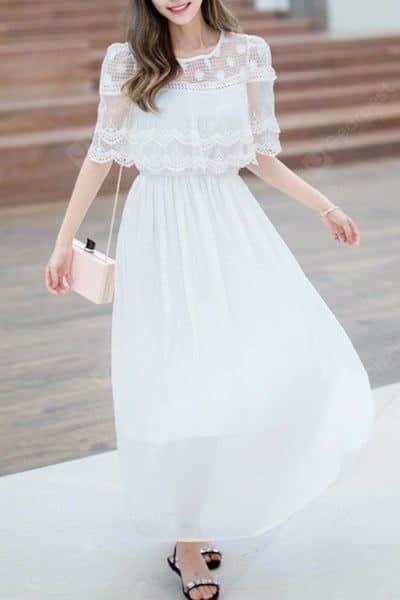 Váy voan 2 lớp phối ren choàng vai