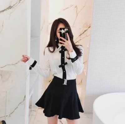 Áo sơ mi công sở nữ tay dài + Chân váy xoè ngắn