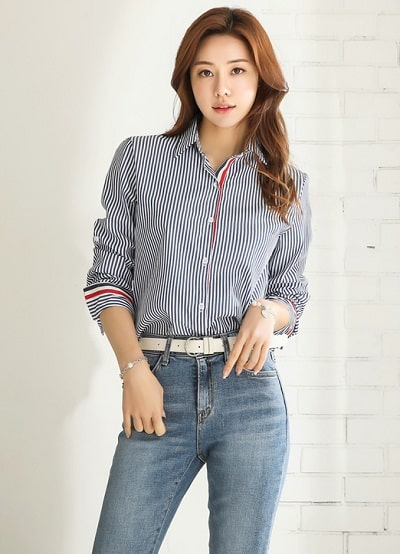 Công thức: Áo sơ mi + quần jean Hàn Quốc