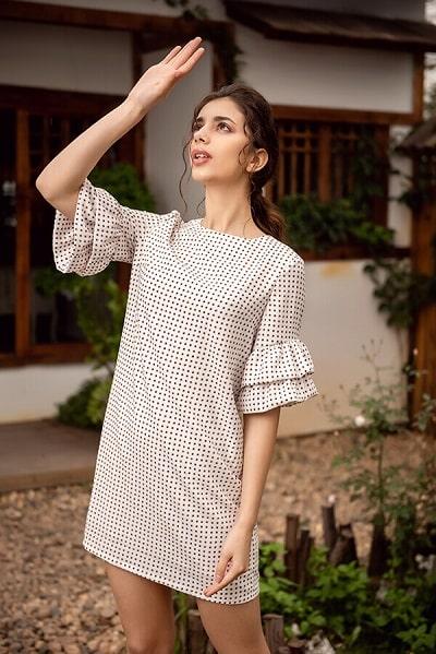 Váy công sở hè 2020 đẹp điểm tên dầm suông tay tầng nữ tính