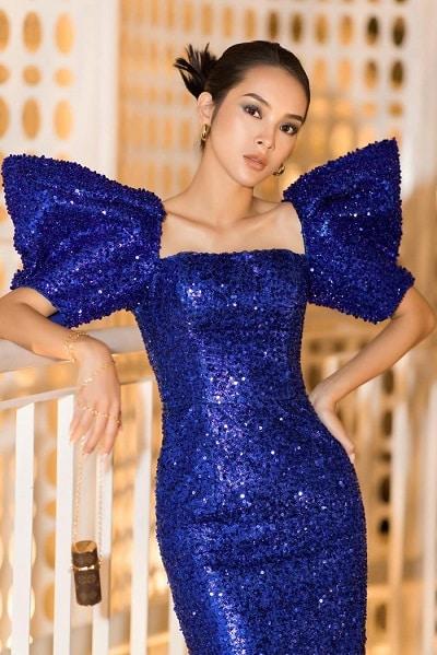 Diễn viên đình đám trong các MV ca nhạc Quỳnh Lương khoe vẻ đẹp thời thượng trong thiết kế màu xanh cổ điển.