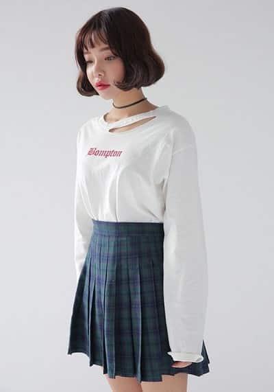 Chân váy xếp ly sọc vuông Hàn Quốc