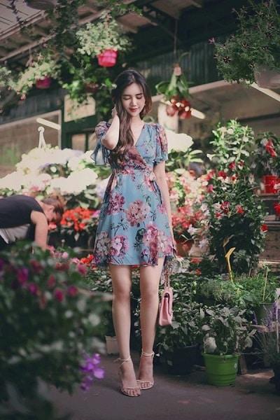Đầm voan hoa đắp chéo Hàn Quốc