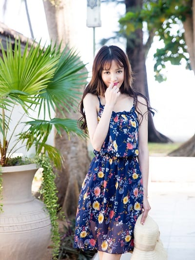 Đầm voan hoa hai dây