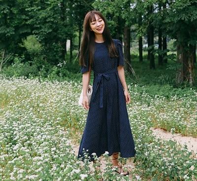 Đầm chấm bi tay bồng Hàn Quốc
