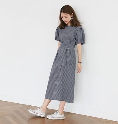 Đầm suông tay bồng Hàn Quốc