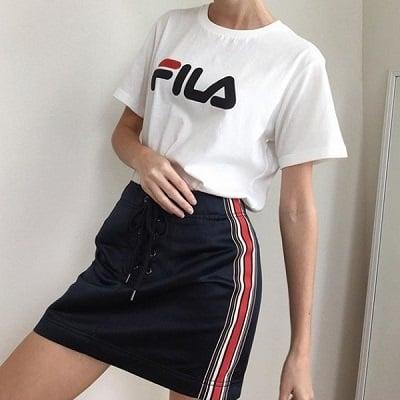 Áo thun Fila phối chân váy ngắn
