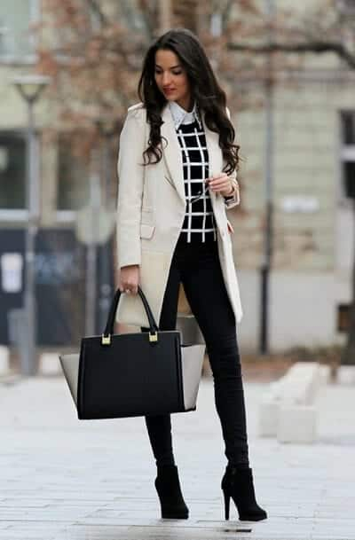 Áo khoác dài + Áo sơ mi + Áo len + Quần Skinny giày cao gót