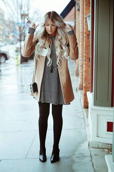 Áo khoác dạ váy suông + Legging + Giày bệt