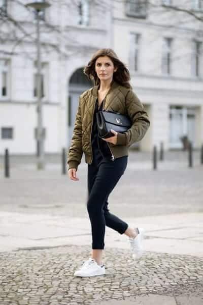 Áo khoác Bomber + Quần Skinny + Áo thun