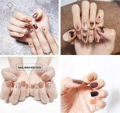 Mẫu nail đẹp màu nâu