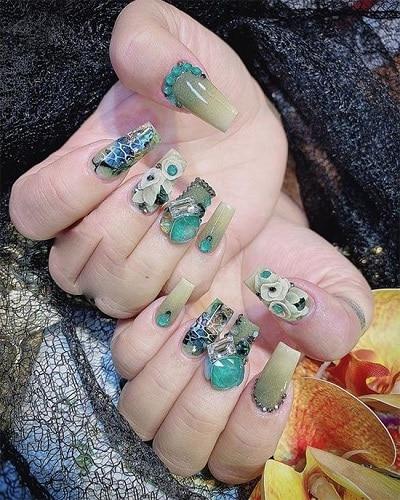 Mẫu nail đẹp xanh ngọc