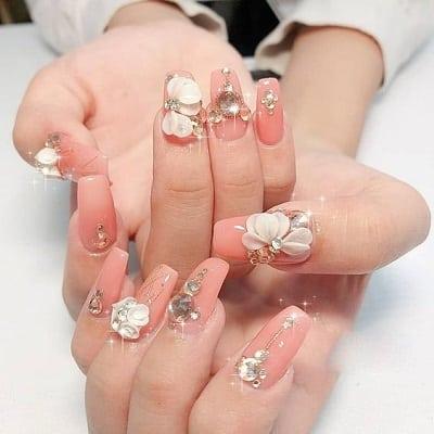 Mẫu nail đẹp màu hồng