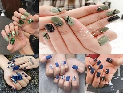 Mẫu nail đẹp màu xanh