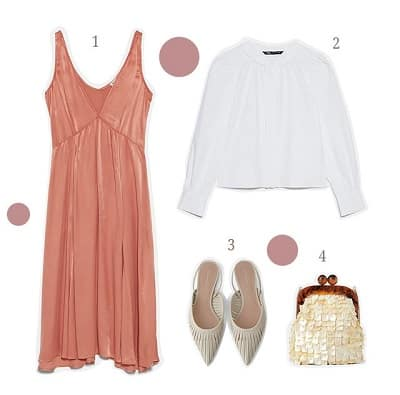 Áo blouse + Váy yếm + Giày Slingbacks