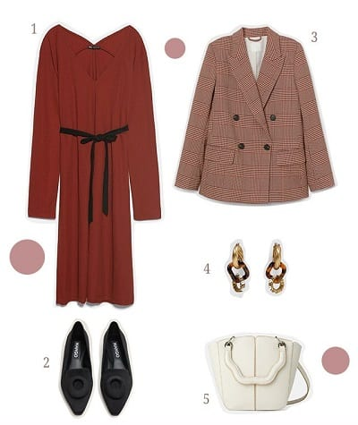 Váy nhấn eo cao+ Áo blazer + Giày loafer