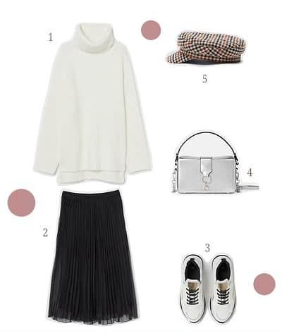 Áo len oversize + Chân váy midi dáng suông + Giày sneaker