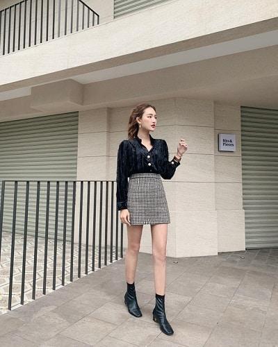 Chân váy ngắn sọc caro