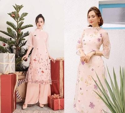 Vải organza không chỉ được thiết kế dành cho những chiếc áo dài du xuân còn là áo dài cưới