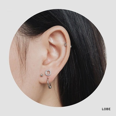 Xu hướng xỏ khuyên ở dọc thùy tai