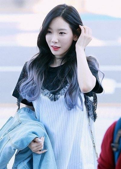 Taeyeon với kiểu tóc ombre.