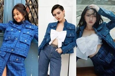 Không những vậy, nhiều người đẹp như Châu Bùi, Khánh Linh còn tài tình kết hợp chiếc áo croptop nơ này với chiếc áo khoác classic blue cũng từng được chính Jennie diện để tạo nên một chiếc look mới mẻ hơn.