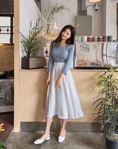 Chân váy dài phù hợp cho xu hướng thời trang nữ Hàn Quốc hiện nay