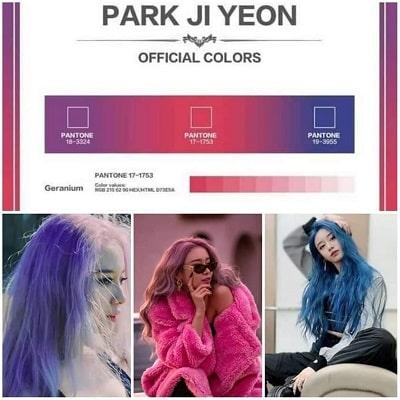 Các màu tóc của Jiyeon trong MV giống với bảng màu chính thức riêng mà cô đã đăng ký
