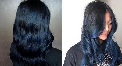 Màu tóc nhuộm xanh đen đẹp cho học sinh nữ